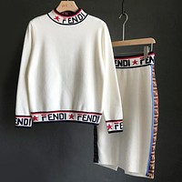 FENDI Trending Women Stylish Half High Collar Long Sleeve Top High Waist Skirt Two-Piece White
