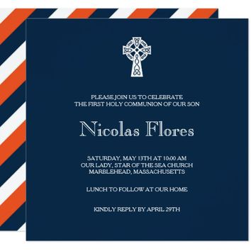 Celtic Cross Invitation - Boy First Communion