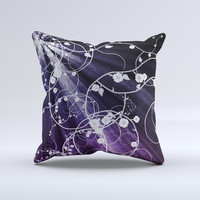 Dark Purple Light Arrays with Glowing Vines Ink-Fuzed Decorative Throw Pillow