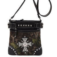 Best Camo Black Studded Purse Bling Cross Hipster Messenger Bag Passport Carrier Swingpack Purse Crossbody Cool Christian Religious Mother Day Nurse Graduation Gift Idea Young Ladies Teen Summer 2017