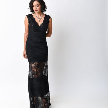 1930s Style Black Sheer Lace & Crepe Sequin Gown