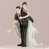 Football Wedding Cake Toppers, Bride & Groom Figures - Weddingstar