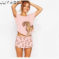 Add Pink Add Size  Cute Women's  Sleepwear Sets Dachshund Print 2 Pieces Set Crop Top + Shorts Elastic Waist Loose Plus Size