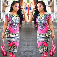High Fashion Africa Pattern Print Jumpsuits Women Streetwear Two Piece Bodycon Jumpsuit Overalls For Women S9618