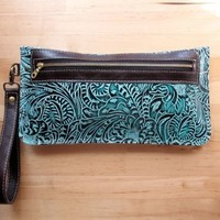 Southwestern leather clutch zipper bag evening wristlet wallet Floral Turquoise