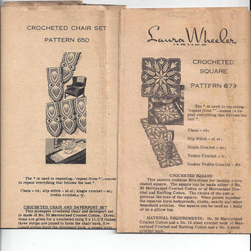 2 Laura Wheeler 1940s Crocheted Doily Patterns, Square 679, Chair Set 650, Mail Order Patterns, Vintage Pattern, Vintage Lace Hand Crafts