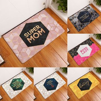 homing welcome home door floor hallway carpets colored funny letters geometric hive diomand pattern flannel mats home decor rugs