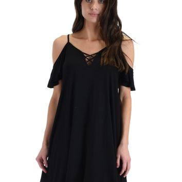 SL4172 Black Half Sleeve Off Shoulder Shift Dress With Crisscross Spaghetti Detail
