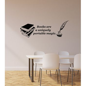 Vinyl Wall Decal Books Quote Feather Library Bookworm Reading Room Stickers Mural (ig5956)