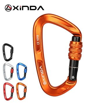 XINDA Rock Climbing Carabiner 25KN Safety D-Shape Buckle Screw Lock Spring-loaded Gate Aluminum Carabiner Outdoor Kits