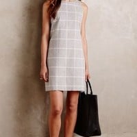 Paper Crown Checkpane Shift Dress in Neutral Size: