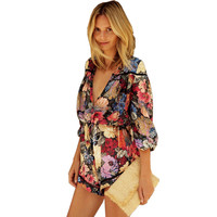 Deep V Neck Print Floral Loose Women's Jumpsuit LAVELIQ