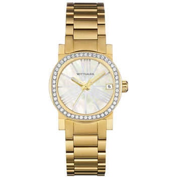 Wittnauer WN4002 Women's Adele White MOP Dial Yellow Gold Steel Crystal Accented Watch