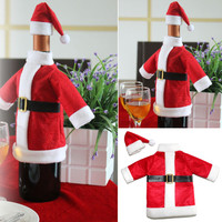 Christmas Decoration Red Wine Bottle Covers Clothes With Hats For Home Christmas Dinner Party Or Gift