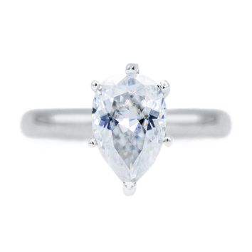 **NEW** Pear First Crush FAB Moissanite 6 Prongs FANCY Solitaire Ring