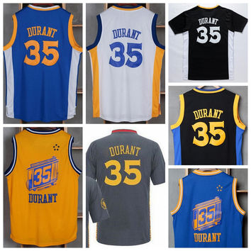 2016 Hot 35 Kevin Durant Jersey Men Sale Throwback Kevin Durant Shirt Uniform Chinese Christmas Retro Blue White Yellow Black with sleeve