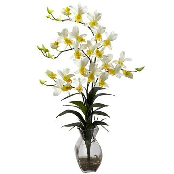 Silk Flowers -Cream Dendrobium Orchid With Vase Artificial Plant