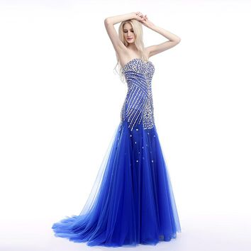Royal Blue Prom Dresses Mermaid Sweetheart Tulle Crystals Luxurious Long Elegant Prom Gown Evening Dresses