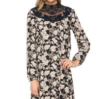 """Lillian"" Navy Floral Dress"