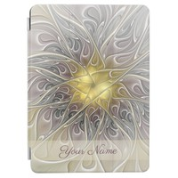 Flourish Gold Modern Abstract Fractal Flower Name iPad Pro Cover