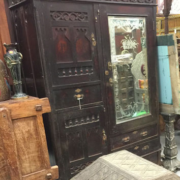 Antique Armoires Colonial Vintage Hand Carved Teak Mirror Cabinet Rustic Indian Furniture