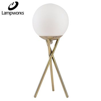 Lampworks Table Lamp Moon Decorative Bedside Lamp Metal Bracket Spherical Glass Lampshade Desk Lamp Modern Light for Bedrooms Living Room(Bulb Not Included)