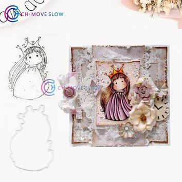 Cool CH Queen Girl Metal Cutting Dies and stamps DIY Scrapbooking Card Stencil Paper Craft Handmade Album Handbook DecorationAT_93_12