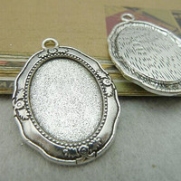 10pcs Antique Silver Cameo Cab Frame Blank Setting Charms Pendants 27x40mm Fit 18x25mm Cabochon Setting, Pendant Setting, Bezel Setting