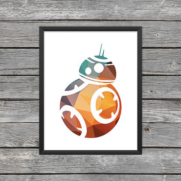 BB-8 Droid Poster BB-8 Print Star Wars BB-8 Art bb-8 Outline Star Wars Art Star Wars Print Outer Space Art Pattern Art Polygon Print
