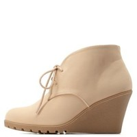 Beige Lug Sole Lace-Up Wedge Booties by Charlotte Russe