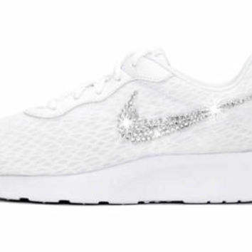 Women's Nike® Tanjun SE Womens Running Shoes in White/Black/White w/SWAROVSKI® Crystal details