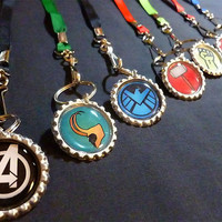 Avengers Lanyards- FULL SET (9 Lanyards) Loki SHIELD Ironman Captain America Hulk Black Widow Hawkeye Thor