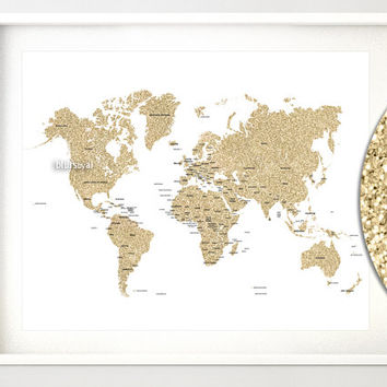 "20x16"" Printable world map, golden glitter world map with countries, country names, gold glitter decor, gold nursery map - map039 005"