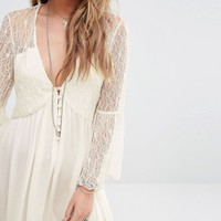 Kiss The Sky Button Front Smock Dress With Lace Panels