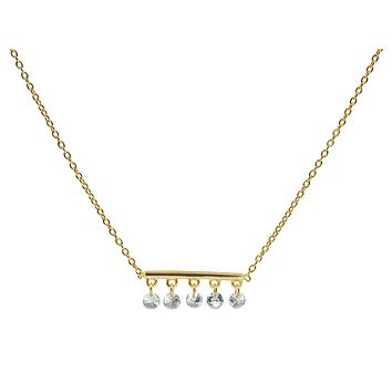 FRONAY Thin Briollette Gold Bar Necklace | Sterling Silver