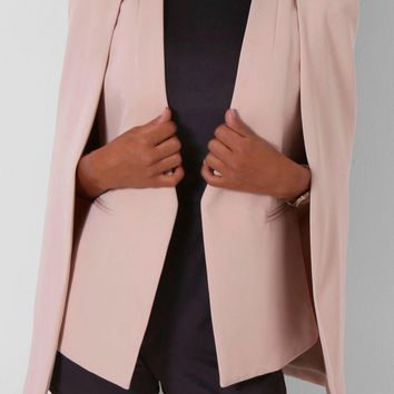 Bliss Nude Cape Blazer | Pink Boutique