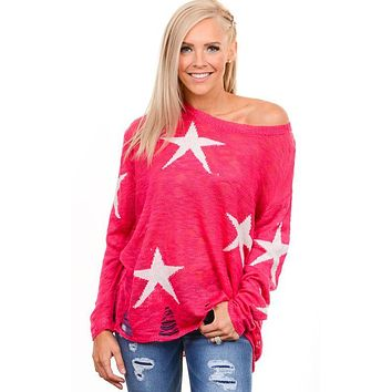 Fuchsia Star Distressed Sweater