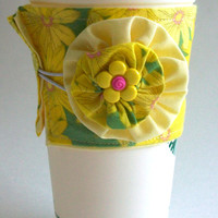 Yellow Daisies Coffee Cup Cozy / Daisy Flowers Drink Sleeve