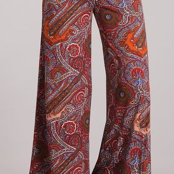 Woodstock Memories Multicolor Paisley Pattern High Waist Fold Over Loose Wide Leg Pants