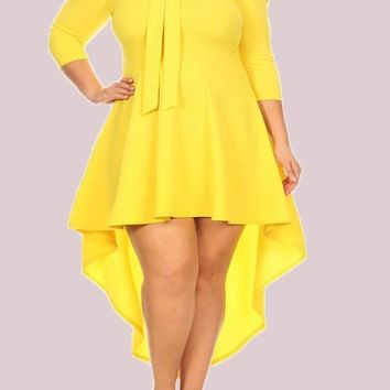 Yellow Irregular Bow Plus Size Swallowtail 3/4 Sleeve Homecoming Cute High-low Midi Dress