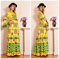 Vintage 1960s Hippie Southwestern Aztec Maxi Dress Psychedelic Yellow