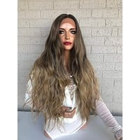 """Balayage Ombre Brown Blonde SWISS Lace Front Wig 