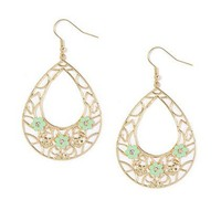 Filigree & Enamel Flower Teardrop Dangly Earrings – Claire's