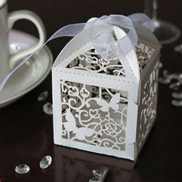10/50/100pcs Wedding Party Favor Butterfly Paper Candy Gift Boxes With Ribbon HU