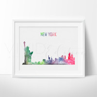 New York City Skyline Watercolor Art Print