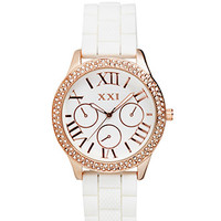 FOREVER 21 Glitzy Girl Chronograph Watch White/Light Rose One