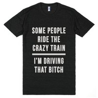 Driving the Crazy Train-Unisex Athletic Black T-Shirt