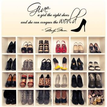 Marilyn Monroe Give A Girl Shoes....Conquer the World Quote Wall Decal Decor Large Nice Sticker