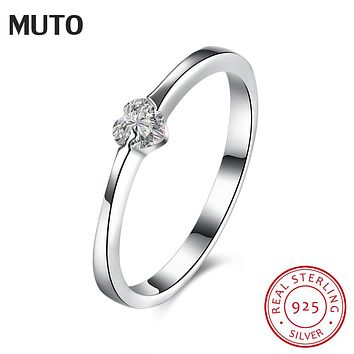 MUTO Tiny Heart CZ 925 Sterling Silver Ring Size 6,7,8 Girl's Fashion Jewelry Women Wedding Gift SVJZ6019