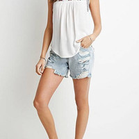 White Sleeveless Embroidery Detail Top
